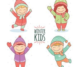 Winter outdoor happy children vector
