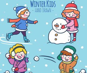 Winter outdoor play vector