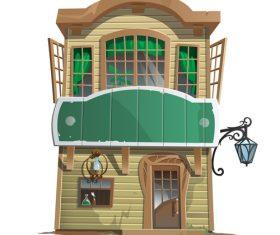 Wooden villa building vector