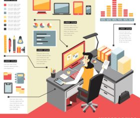 Work information element illustration vector