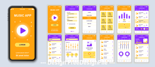 Yellow background music mobile app Ui Kit Screen vector