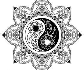 Yin yang mandala tattoo vector