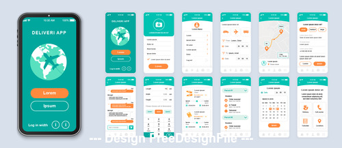 deliveri app Ui Kit Screen vector