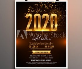 2020 Christmas music celebration cover flyer vector