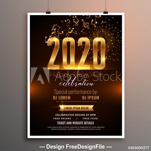 2020 Christmas music celebration cover flyer vector