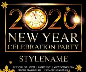 2020 New Year Celebration Flyer Psd Template