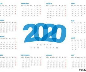 2020 calendar layout vector
