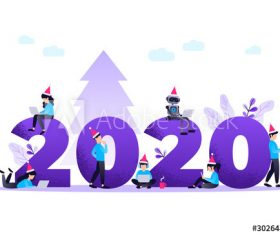 2020 merry christmas people cartoon illustration vector