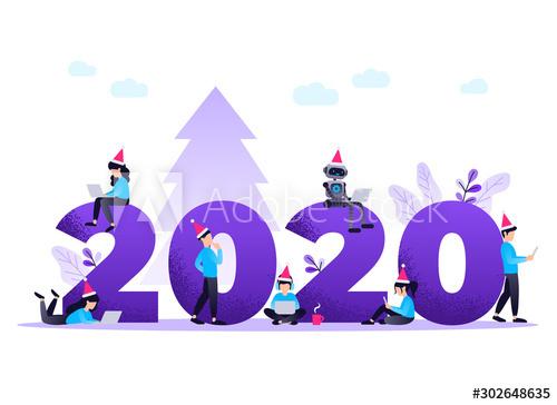 2020 merry christmas people cartoon illustration vector