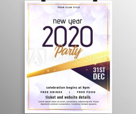 2020 new year party flyer vector