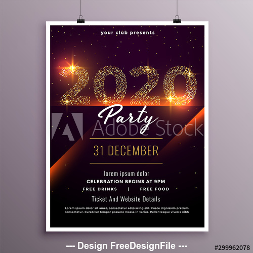 2020 new year shiny party event flyer template vector