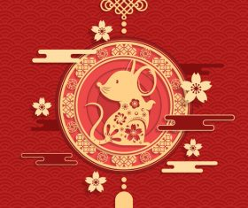2020 rat new year pendant vector