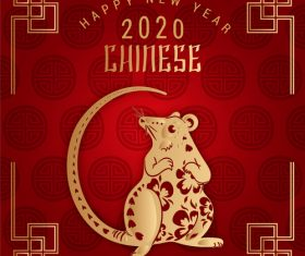 2020 red background new year greeting card vector