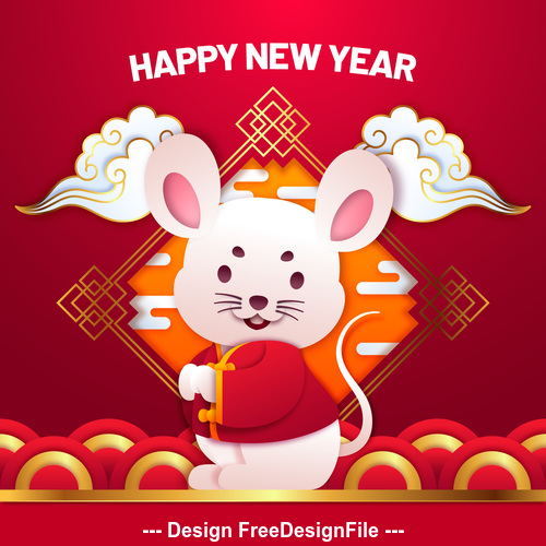 2020 silhouette rat new year greeting card vector