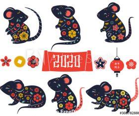 2020 year of rat vector