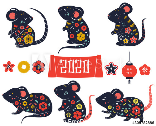 2020 year of rat vector