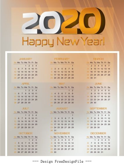 2020 calendar template bright modern blurred vector