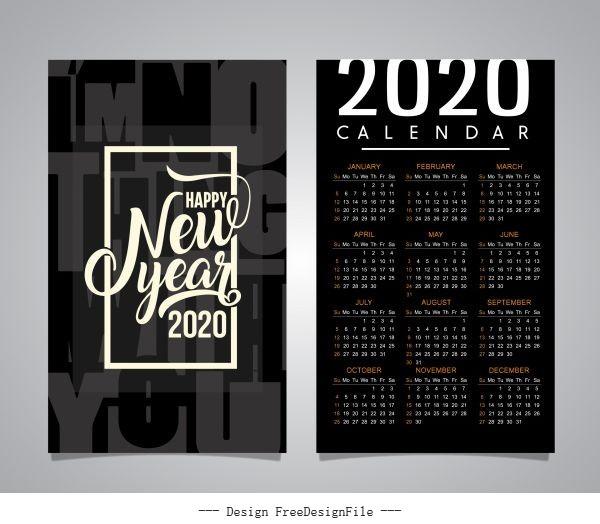 2020 calendar template black white blurred vector