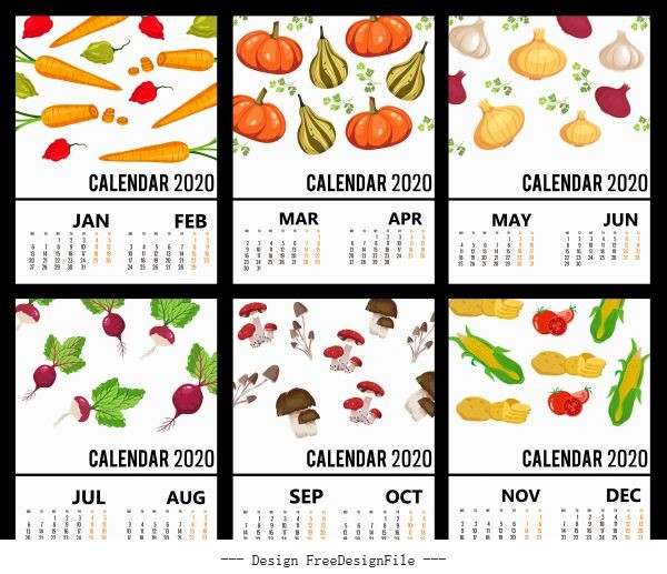 2020 calendar templates vegetables theme colorful vector