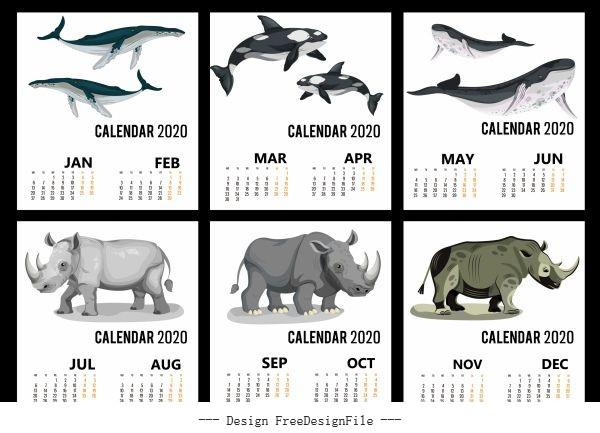 2020 calendar templates wild animals icons vector