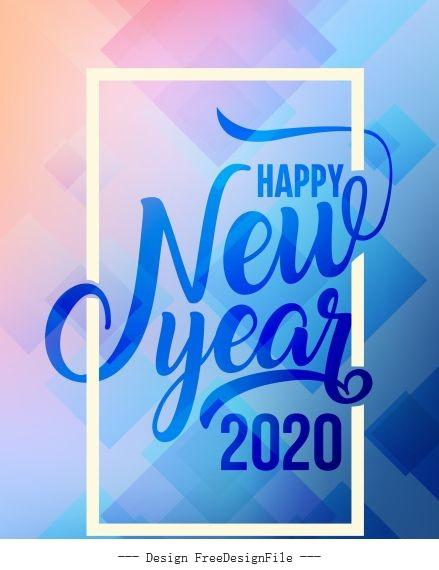 2020 new year banner bright modern calligraphic geometric vector
