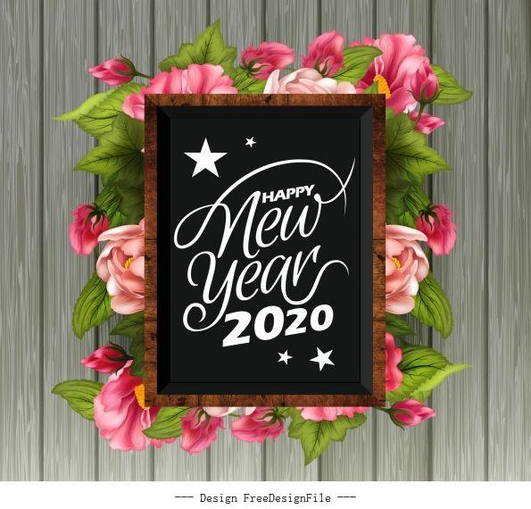 2020 new year banner floras blackboard vector