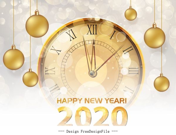 2020 new year banner shiny bokeh clock baubles vector material