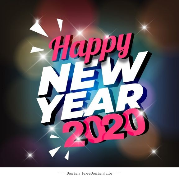 2020 new year banner sparkling lights texts vector
