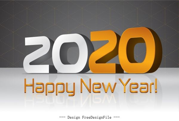 2020 new year poster modern 3d numbers vector