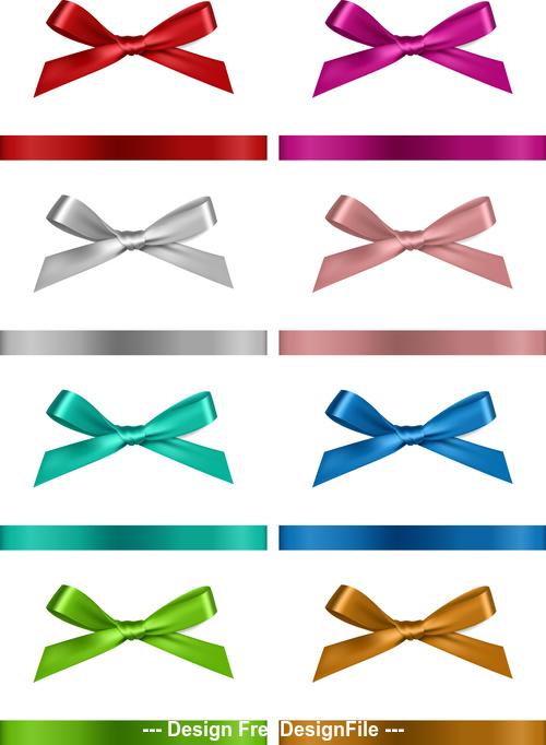 3D Silk realistic bows vector
