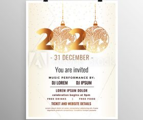Abstract art 2020 new year party flyer vector