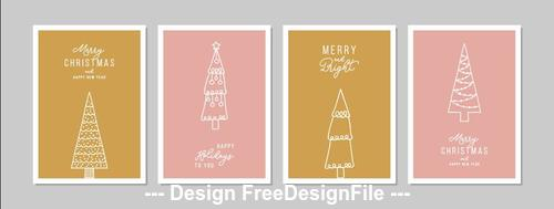 Abstract christmas tree greeting card collection vector