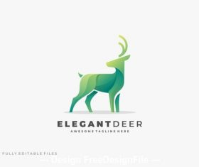 Abstract deer color logo template vector