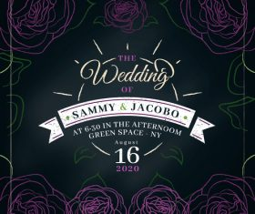 Abstract flower background wedding invitation design vector