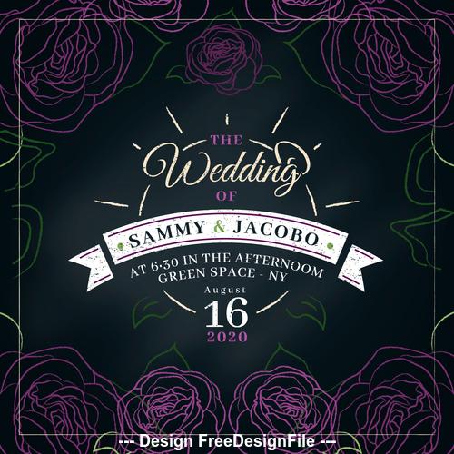 Abstract flower background wedding invitation design vector
