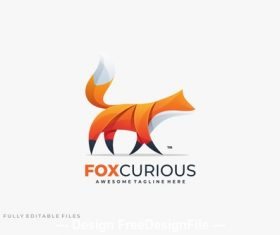 Abstract fox color logo template vector