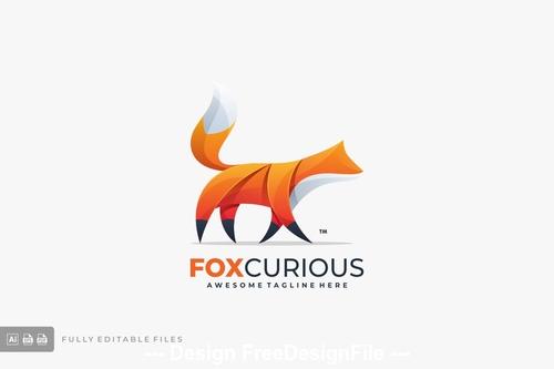 Abstract fox color logo template vector