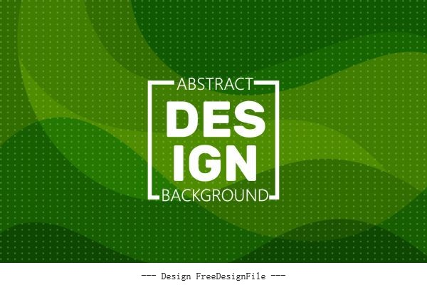 Abstract background template spots decor green waving lines vector design
