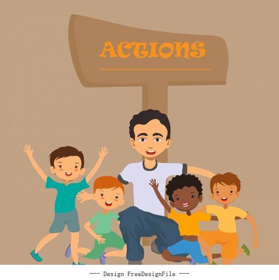 Action background joyful young people signboard sketch vectors