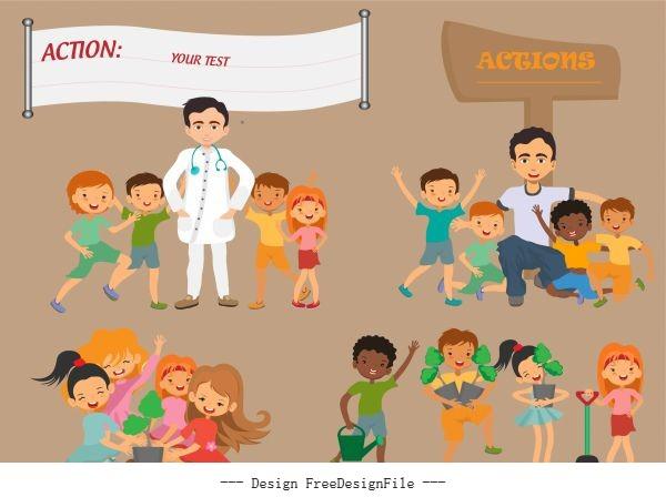 Action backgrounds joyful children cartoon characters sketch set vector