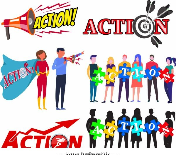 Action sign templates speakers arrows staffs puzzles vector