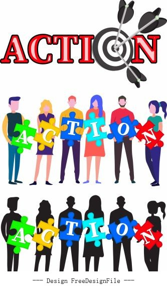 Action signs templates human jigsaw puzzle arrow illustration vector
