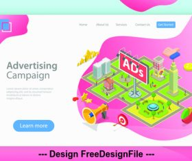 Advertising campaign flat isometric vector 3d concept illustration