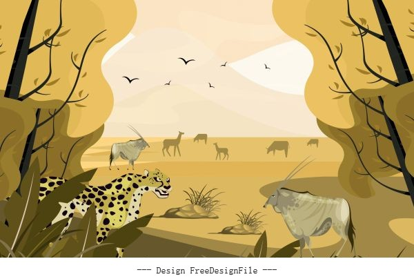 Africa wild landscape painting colored vector