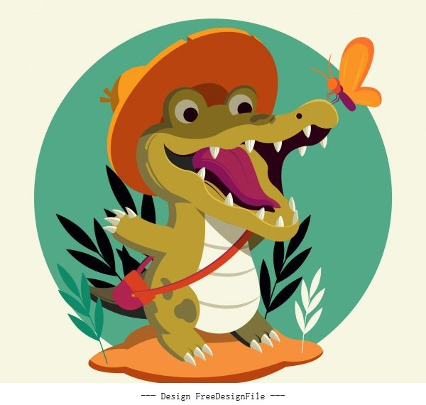 Alligator icon funny stylized cartoon sketch vector graphics