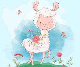 Amusing cartoon animals with flowers vector
