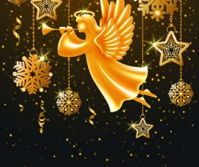 Angel and decorative pendant christmas background vector