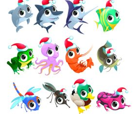 Animal with christmas hat pattern background vector 01