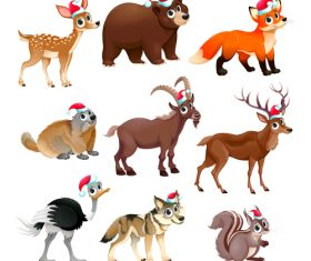 Animal with christmas hat pattern background vector 02