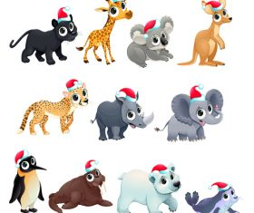 Animal with christmas hat pattern background vector 03